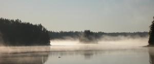 Morning fog on Karl Lake