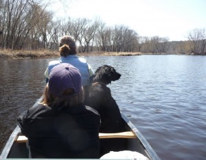 My canoe full of two ladies and one bitch. All of whom I love.