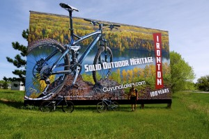 A billboard advertising the Cuyuna trail system near Crosby