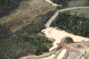 Photo of site where the containment dam burst (Wisconsin DNR photo)